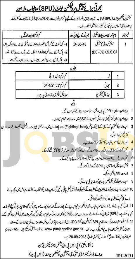 Special Protection Unit SPU Punjab Police Jobs 2018 Application Form Download Latest Advertisement