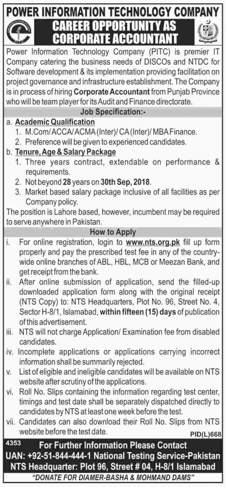 PITC Jobs 2018 Power Information Technology Company For Corporate Accountants