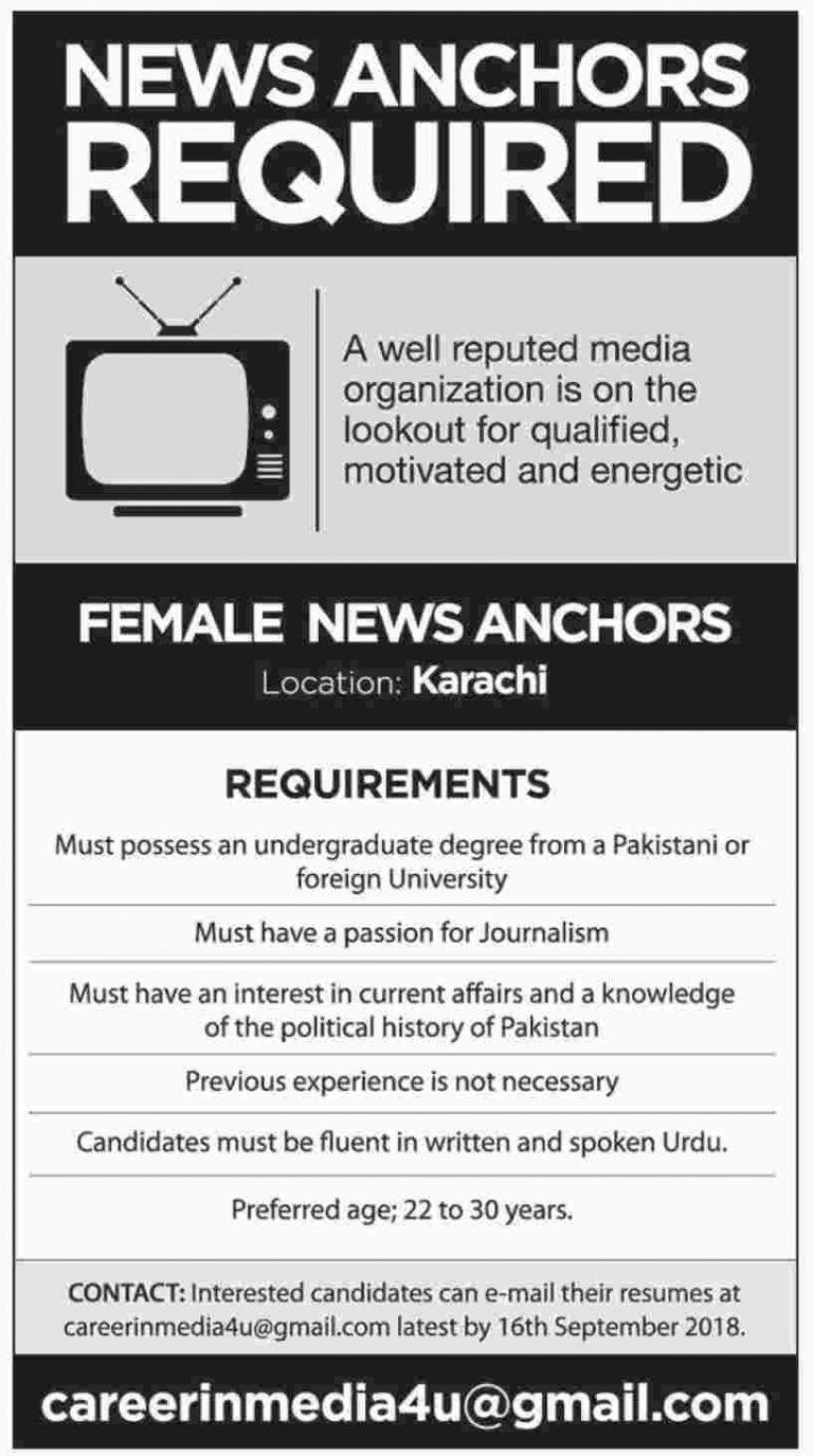 Female News Anchor Jobs in Karachi Sep 2018 For Media Organisation