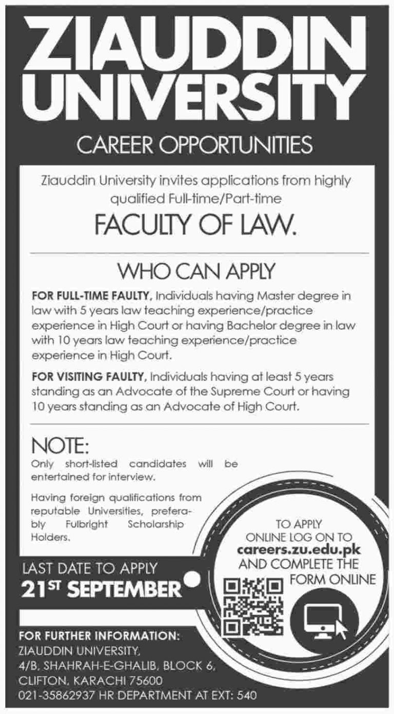 Ziauddin University Jobs 2018 Apply Online For Faculty of Law