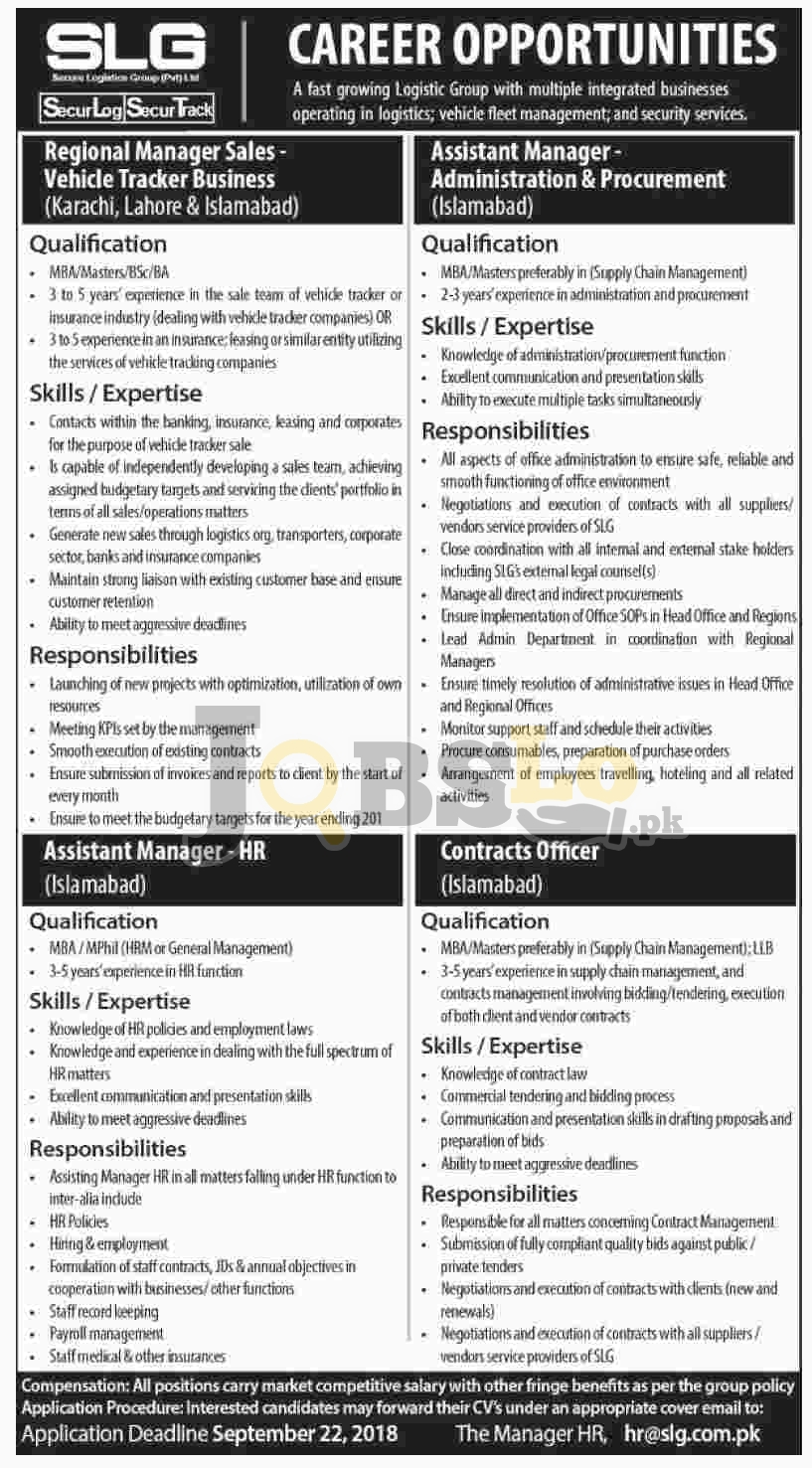 Secure Logistics Group SLG Jobs September 2018 For Managerial Positions