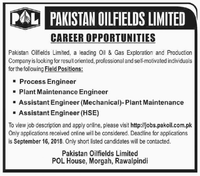Pakistan Oilfields Limited POL Jobs Sep 2018 Latest Vacancies Apply Online