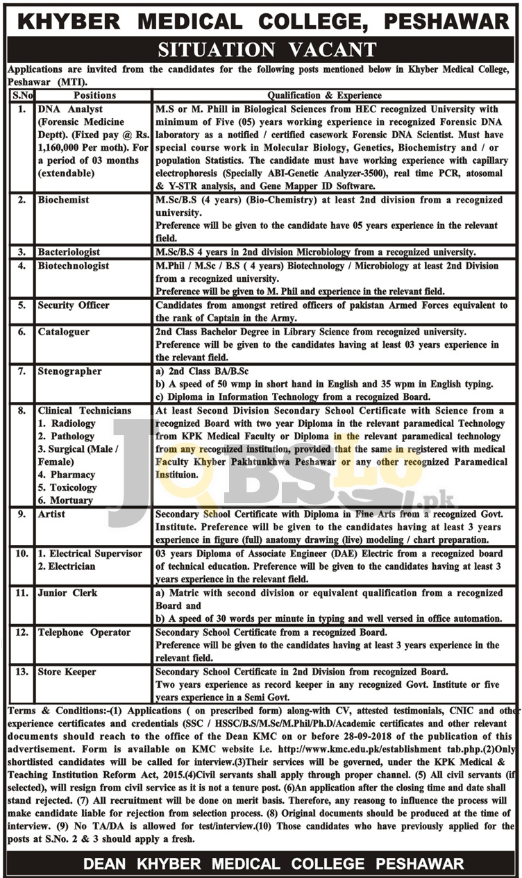 KMC Peshawar Jobs Sep 2018 Khyber Medical College Application Form Latest