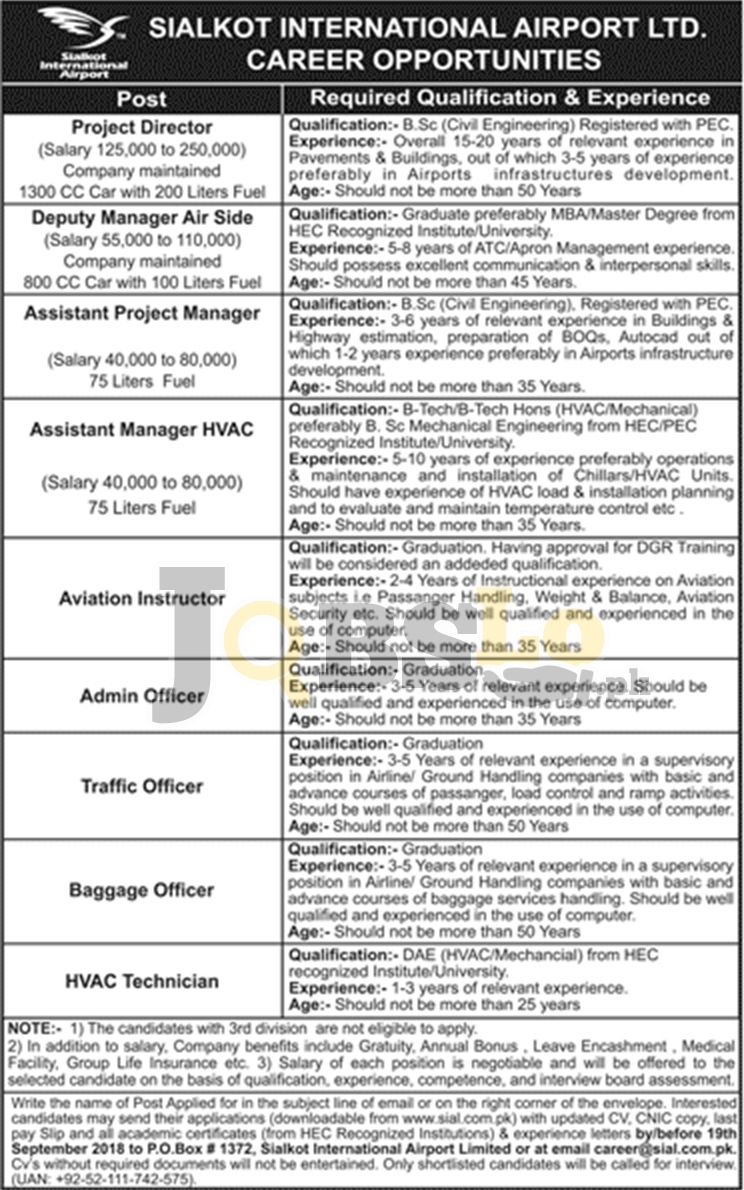 Sialkot International Airport Jobs Sep 2018 SIAL Application Form Latest