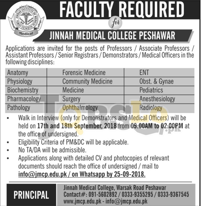 Jobs in Jinnah Medical College Peshawar September 2018 Walk For Interview