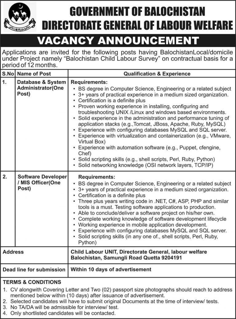 Jobs in Directorate General of Labour Welfare Balochistan 12 Sep 2018 For Software Developer