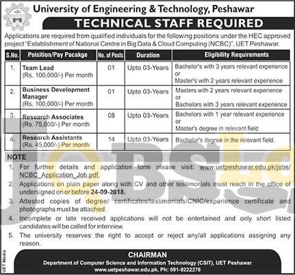 UET Peshawar Jobs 12 Sep 2018 Application Form For Technical Staff