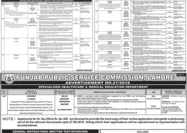 Health Department Punjab Jobs 2018 Lahore PPSC Advertisement 27/2018 Apply Online For Faculty Staff