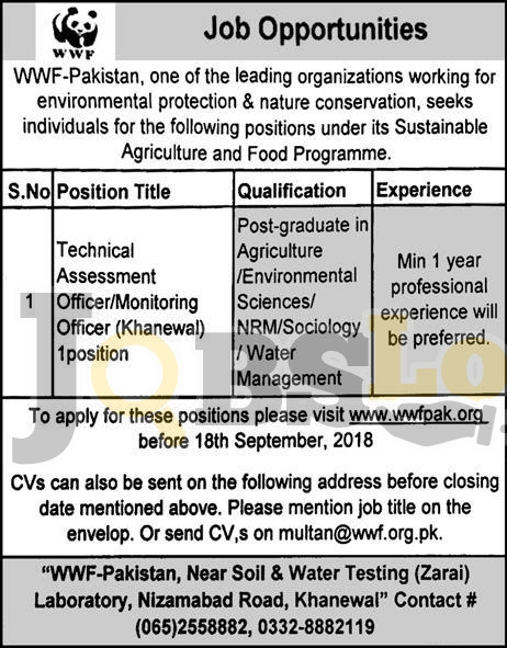 WWF Pakistan jobs 2018 apply online | www.wwfpak.org