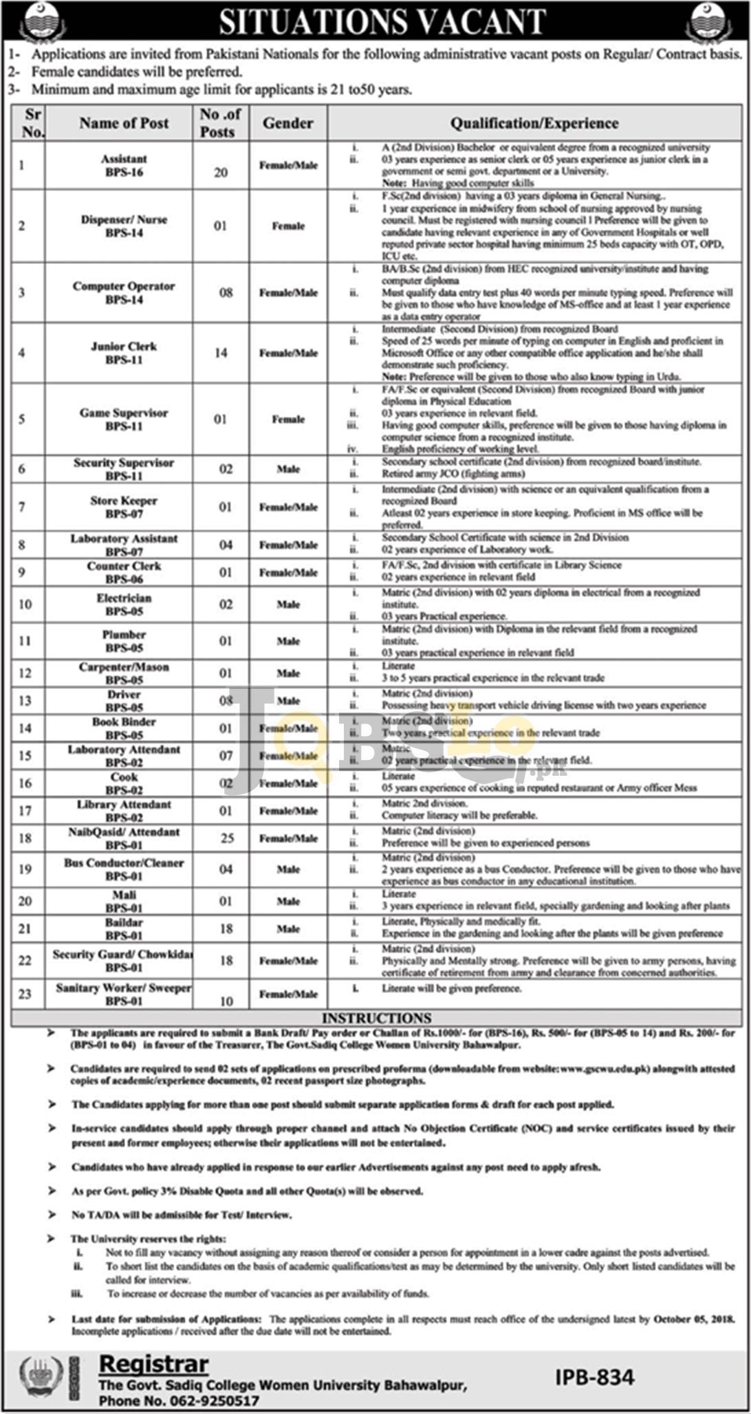 Jobs in Govt Sadiq Egerton College Bahawalpur 2018 Application Form Download Latest