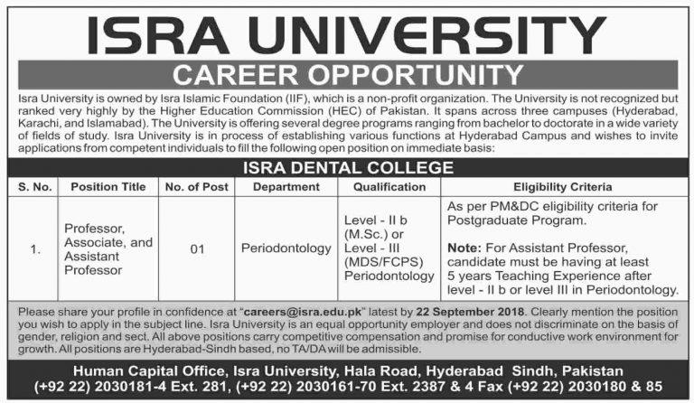 ISRA University Hyderabad Jobs 2018 Latest Advertisement For Faculty Staff