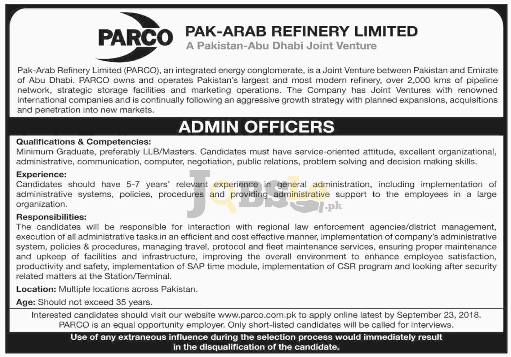 PARCO Jobs 2018 Pak Arab Refinery Limited Apply Online For Admin Officers