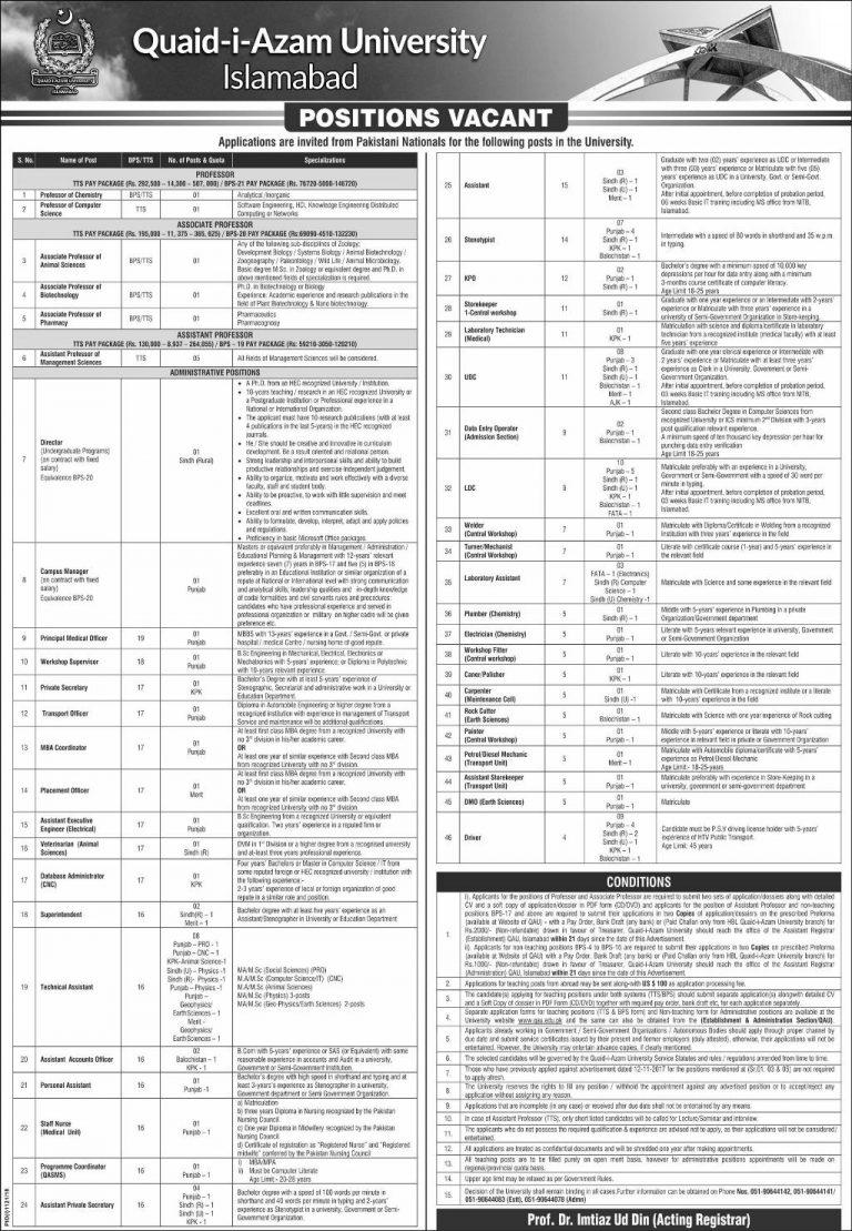 Jobs in Quaid e Azam University Islamabad Sep 2018 Application Form Latest