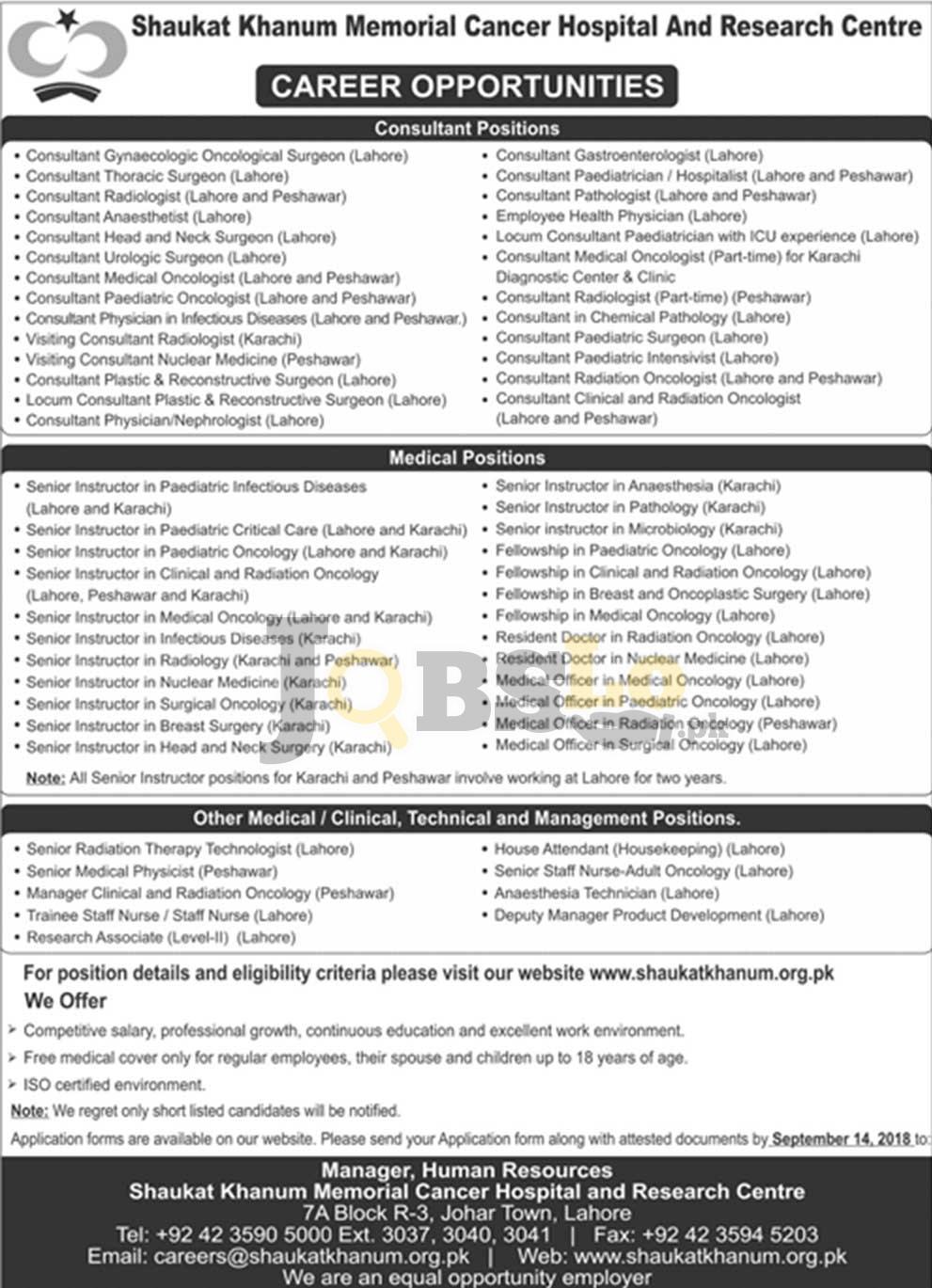 Shaukat Khanum Cancer Hospital Jobs 2018 in Pakistan