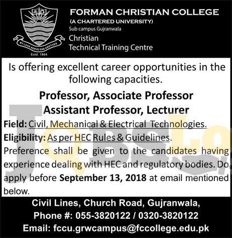 FC College Gujranwala Jobs 2018 Apply Online