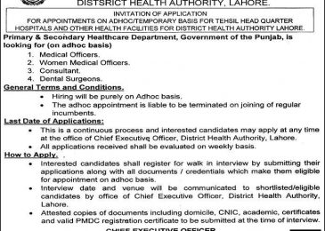 District Health Authority Jobs 2018 in Lahore For Medical Staff