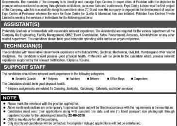 Pakistan Expo Center Lahore Jobs Sep 2018 For Technicians & Assistants