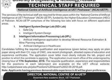 UET Peshawar Jobs Sep 2018 Latest Advertisement For Lab Staff