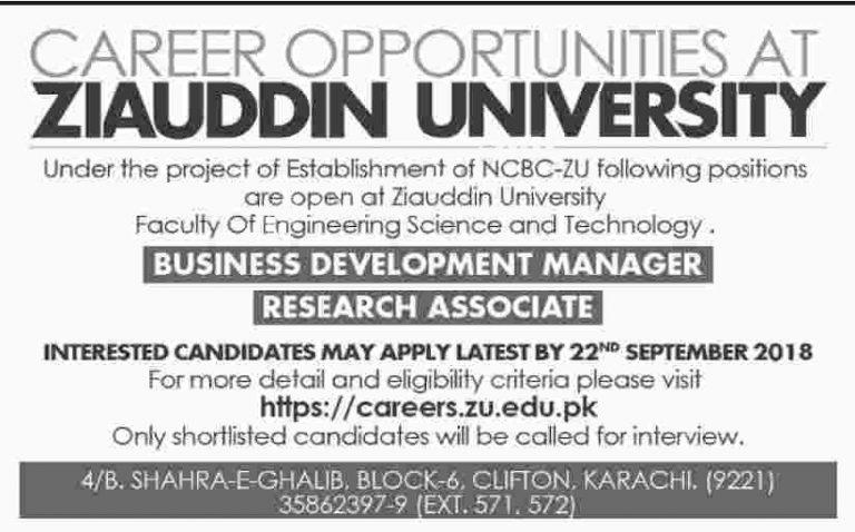 Ziauddin University Jobs 2018 Karachi Apply Online Careers Opportunities