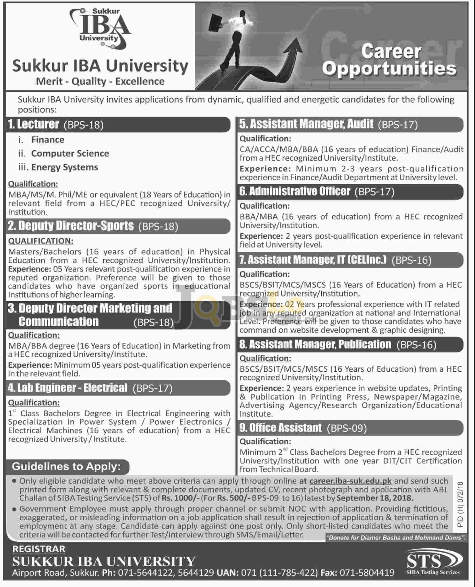 Sukkur IBA University Jobs Sep 2018 Apply Online | www.iba-suk.edu.pk