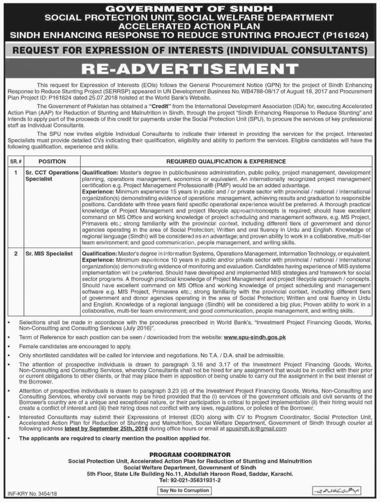Social Welfare Department Sindh Jobs 2018 SPU Latest Careers Opportunities