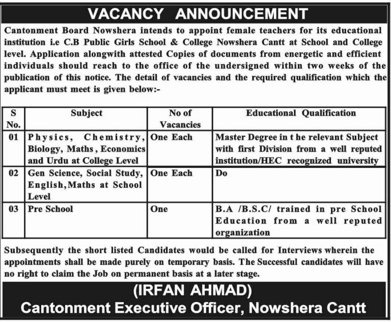 Jobs in Cantonment Board Nowshera 2018 For Teaching Staff