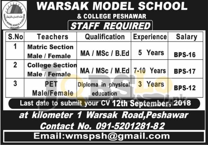 Jobs in Warsak Model School & College Peshawar Sep 2018 For Teaching Staff