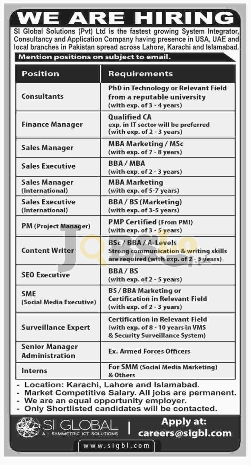 SI Global Solutions Pvt Ltd SIGBL Jobs 2018 Latest Downlaod Application Form