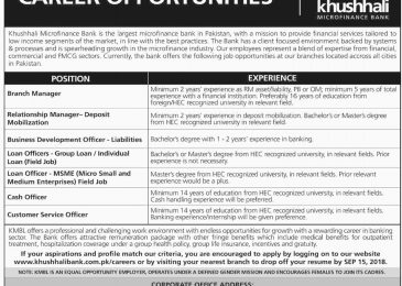 Khushhali Microfinance Bank Jobs 2018 KMBL Apply Online Advertisement Latest