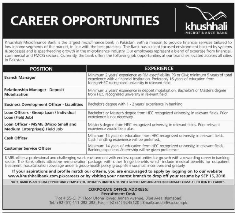 Khushhali Microfinance Bank Jobs 2018 KMBL Apply Online Advertisement Latest