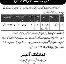 Pak Army Jobs 2018 General Headquarters Transport Battalion Army Service Latest