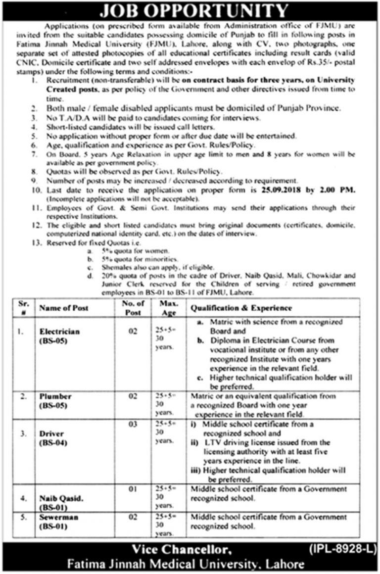 Fatima Jinnah Medical University Lahore Jobs Sep 2018 FJMU For Electrician