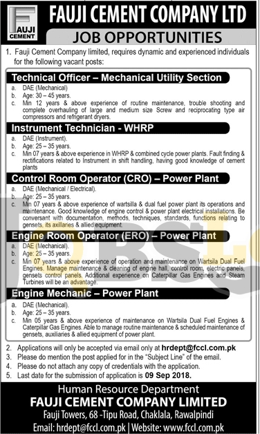 Fauji Cement Company Limited Jobs Sep 2018 Latest Advertisement