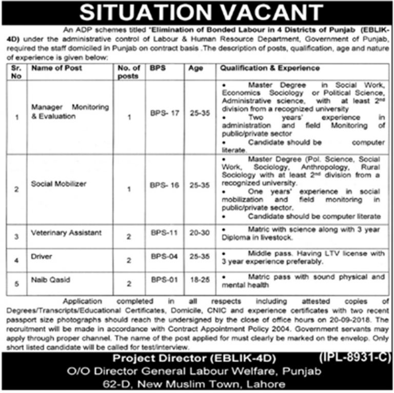 Labour and Human Resource Department Jobs Sep 2018 Latest Vacancies