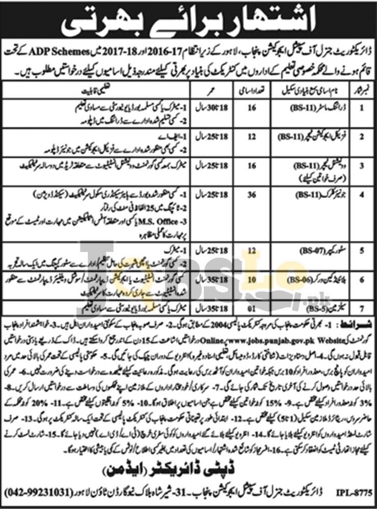 Special Education Teacher Govt Jobs 2018 Apply Online – www.jobs.punjab.gov.pk