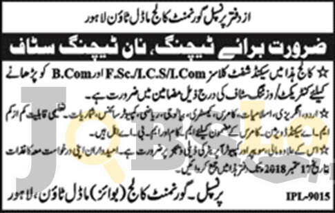 Jobs in Govt College Model Town Lahore 2018 For Teaching & Non Teaching Staff
