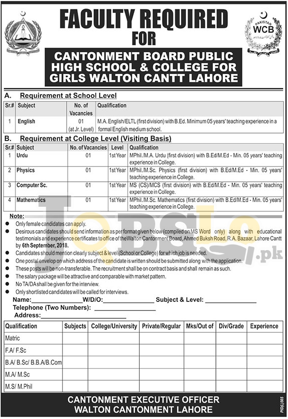 Walton Cantonment Board Lahore Jobs 2018 September For Faculty Staff