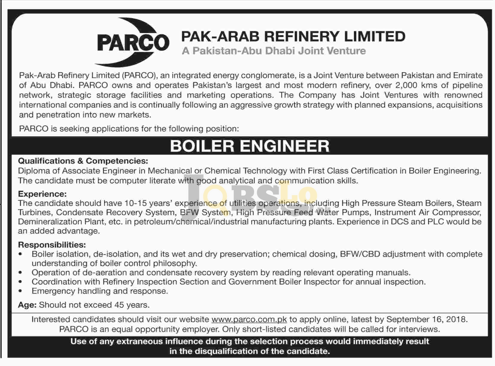 Pak-Arab Refinery Limited PARCO Jobs 2018 Apply Online For Boiler Engineer