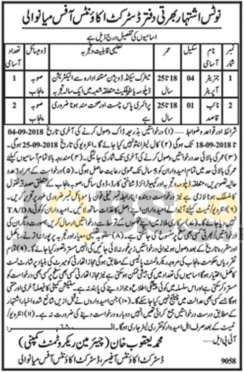 Jobs in District Accounts Office Mianwali Sep 2018 For Naib Qasid & Generator Operator