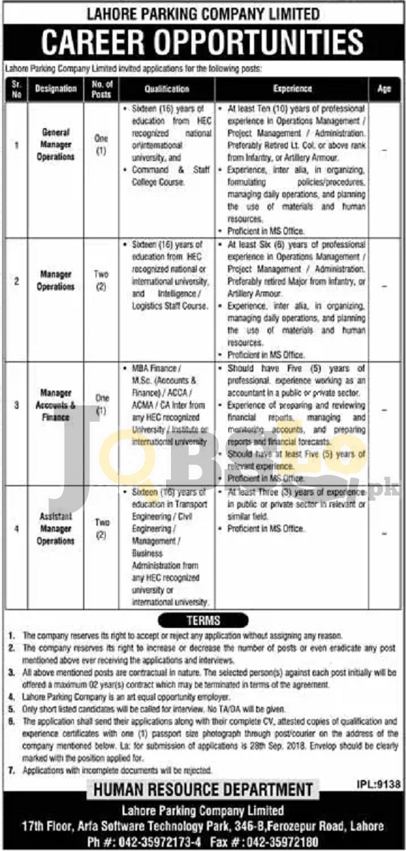 Lahore Parking Company Jobs 2018 Latest Career Opportunities For Manager Operations