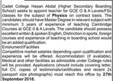 Cadet College Hasan Abdal Jobs 2018 For Physics Teacher Latest