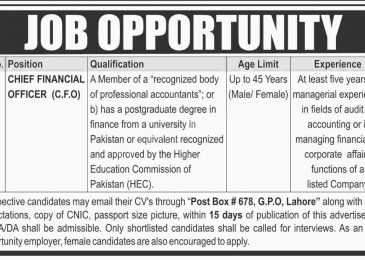 PO Box 678 Lahore Jobs 2018 For Chief Financial Officer