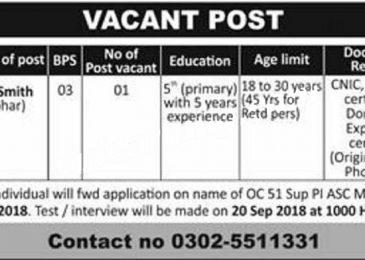 Pak Army Job Sep 2018 ASC Mirpur AK For Tin Smith/Lohar Latest Advertisement