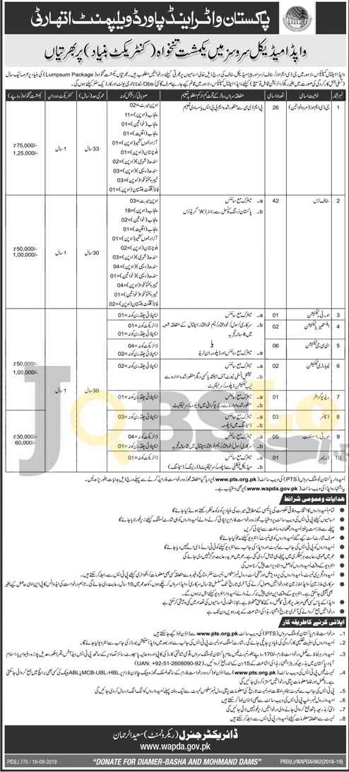 wapda jobs 2018 in pakistan application form PTS Latest Advertisement