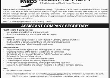 PARCO Jobs Sep 2018 Apply Online Latest For Assistant Company Secretary