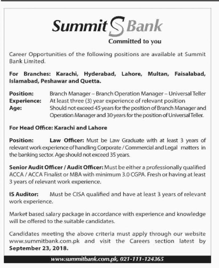 Summit Bank Jobs Sep 2018 Apply Online Latest | www.summitbank.com.pk