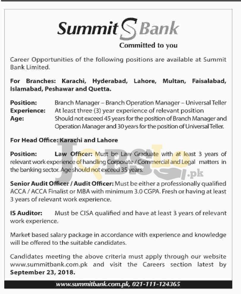 Summit Bank Jobs Sep 2018 Apply Online Latest   www.summitbank.com.pk