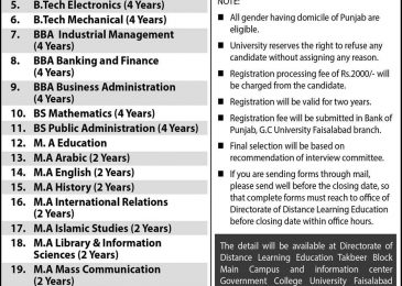 GCUF Faisalabad Jobs 2018 Application Form For Tutors / Visiting Faculty