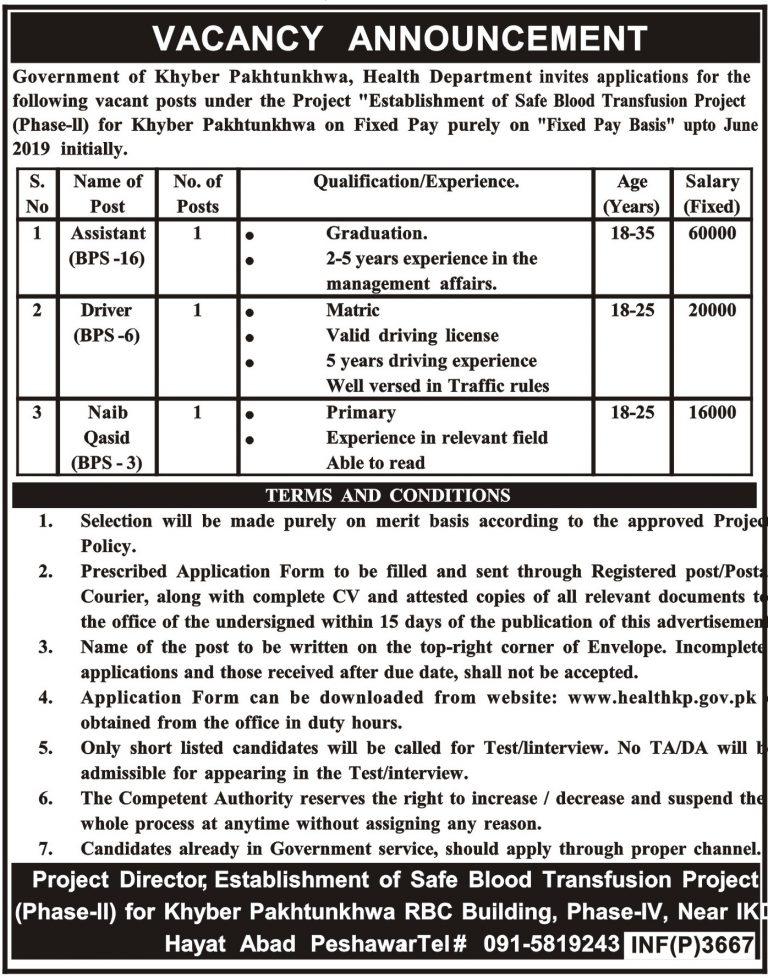 Health Department Jobs 2018 KPK Application Form Download | www.health.kp.gov.pk/