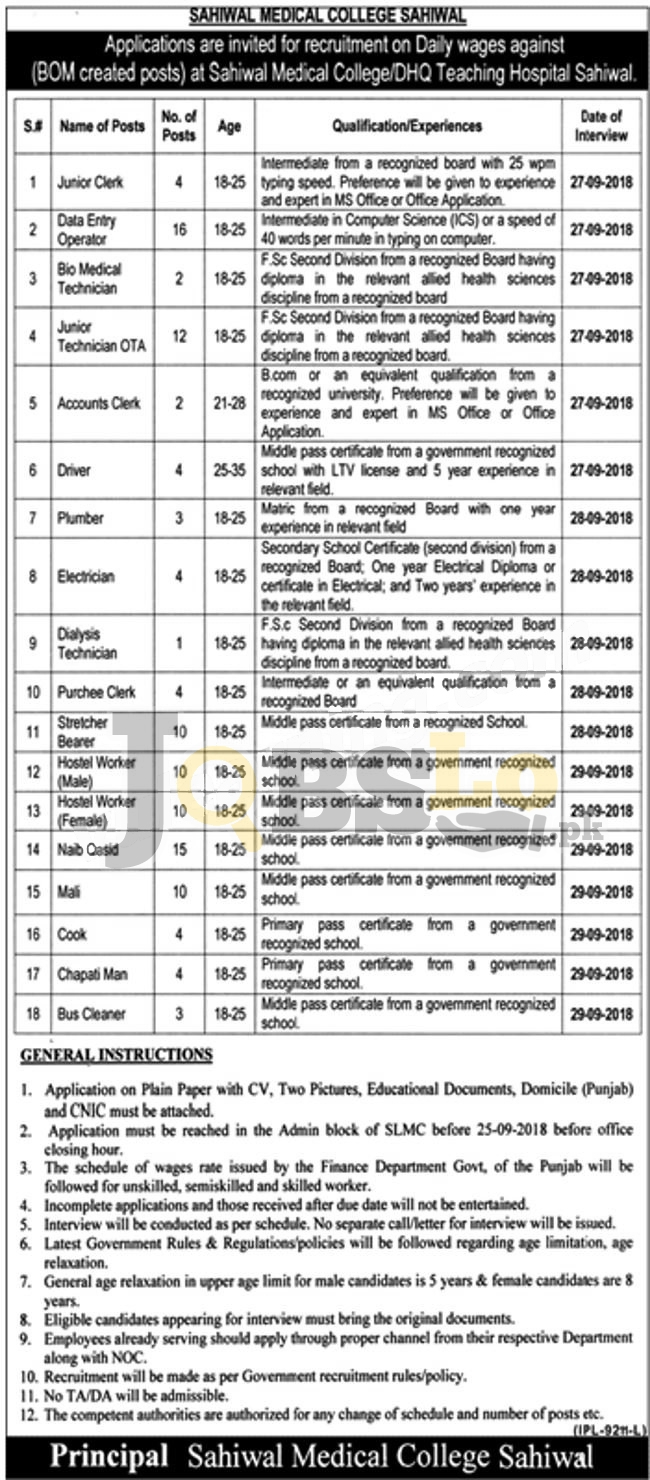 Sahiwal Medical College Jobs 2018 DHQ Hospital Latest Vacancies For Daily Wages